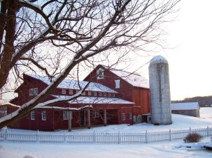 Barn House in the snow