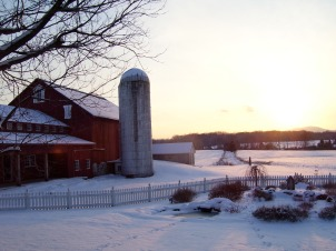The farm at dusk