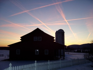 Winter sky over the farm